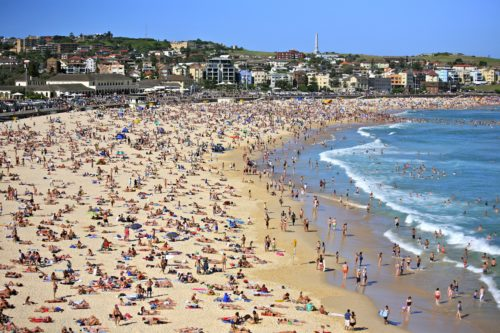 Bondi Beach with huge visitors