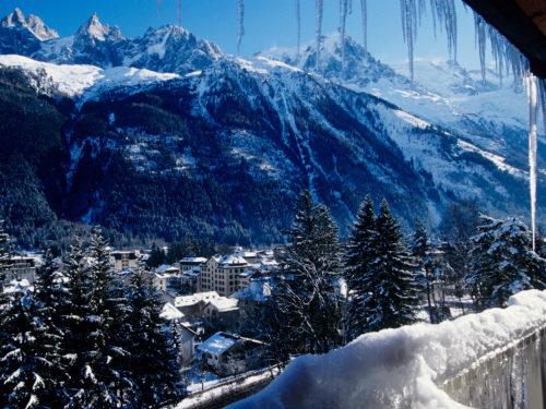Chamonix Mont Blanc winter scenery