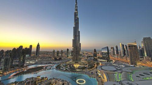 sunset at Burj Khalifa