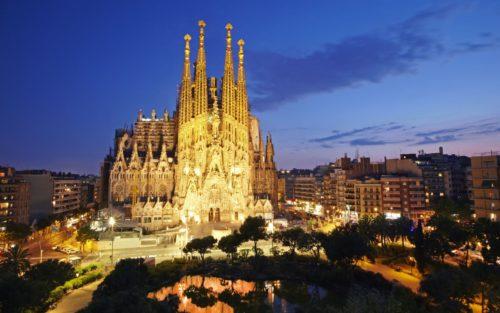 barcelona night scenery