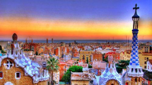 beautiful sunset at barcelona