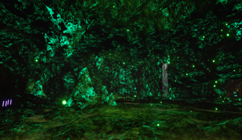 Glow Worm Cave with green light