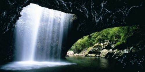 waterfall at Glow Worm Cave