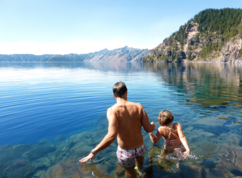 swimming-at-crater-lake