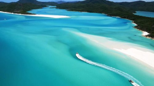 Boating at whitehaven beach
