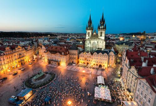 Old town square prague at night