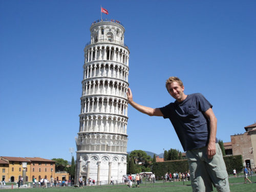 Fun picture at leaning tower of pisa
