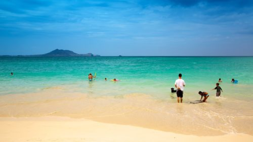 Kailua beach visitors