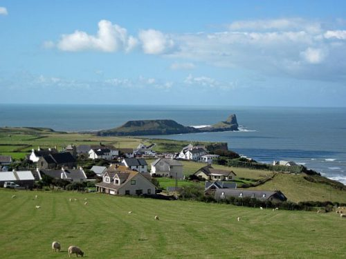 Rhossili village gower's landmark